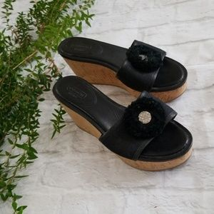 Shoes - Coach Black Cork Wedge Sandal 8